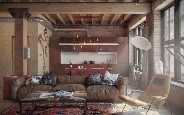Стиль лофт в интерьере гостиной: готовые идеи декора для креативных и творческих людей (44 фото)