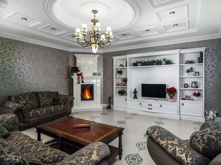 Белый угловой камин в интерьере гостиной
