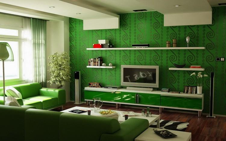Воздух новизны в интерьере гостиной: декор помещения в зеленом цвете (55 фото)
