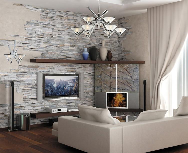 Камень в интерьере гостиной: 40 фото идей облицовки ... искусственный камень в интерьере