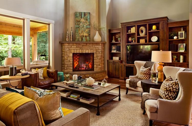 Фотогалерея: Угловой камин в интерьере гостиной 125 идей
