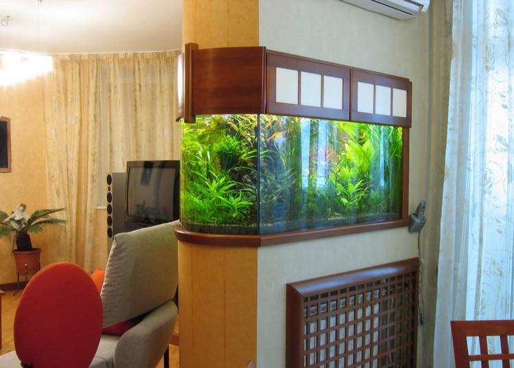 Аквариум в интерьере гостиной: Искусство декорирования комнаты водой (33 фото)