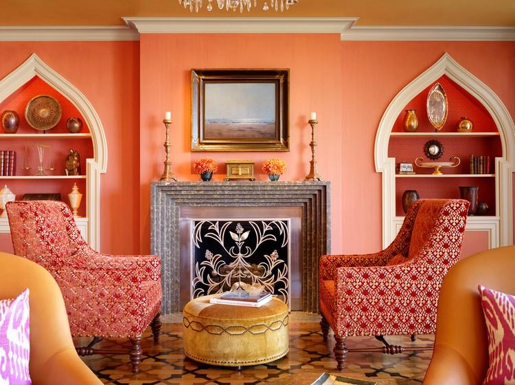 Персиковый цвет в интерьере гостиной: идеи создания вкусного дизайна (47 фото)