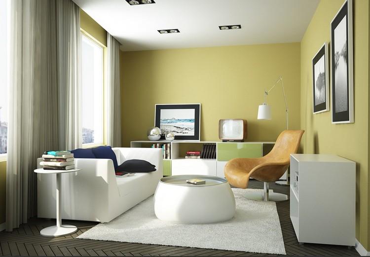 Оливковые стены в гостиной - изыскано и благородно