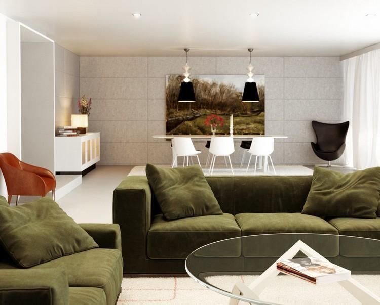 Шикарный оливковый диван в интерьере гостиной