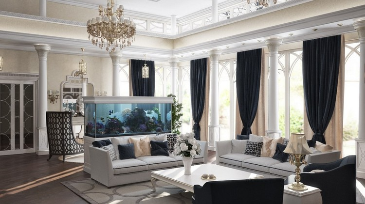 Как гармонично вписать аквариум в интерьер гостиной: Искусство декорирования водой (33 фото)
