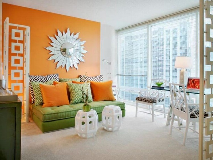 chic-tangerine-and-white-living-room