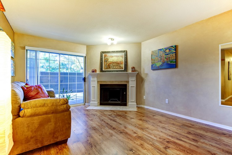 Living room with fireplace and couch. View of french slide doors. Room decorated with paintings