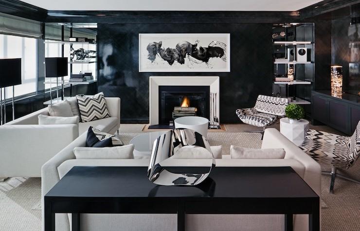 Черный и белый цвет в оформлении гостиной