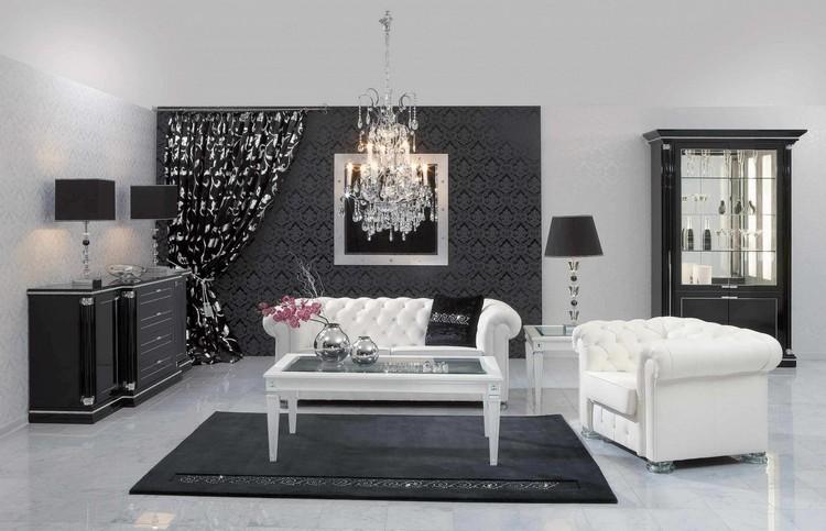 Небольшая черно-белая гостиная