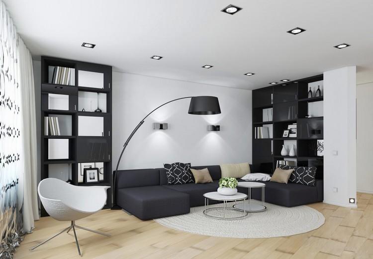 Простой интерьер черно-белой гостиной