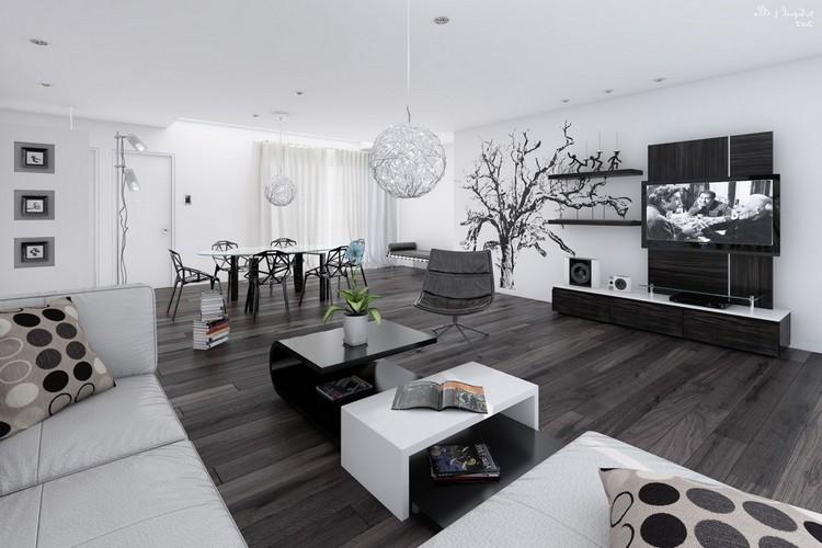 Интерьер гостиной в черно-белых тонах: для любителей монохрома (19 фото)