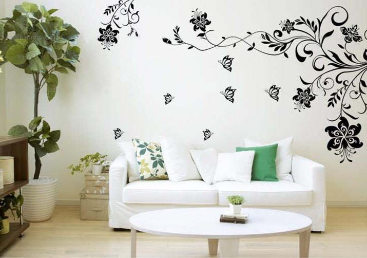 Декор гостиной с помощью виниловых наклеек