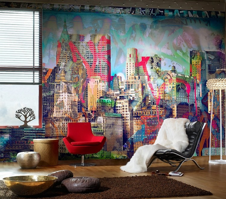 Декор гостиной с помощью граффити на стенах