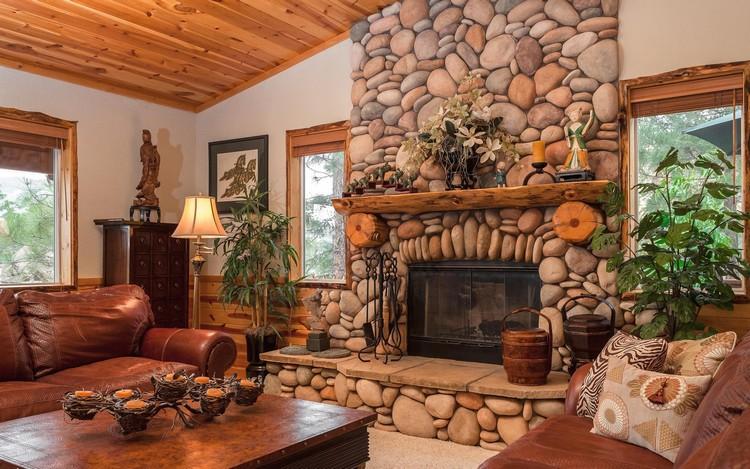 Камин в декоре гостиной - фото
