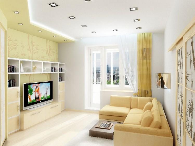 Светлая и просторная гостиная в хрущевке