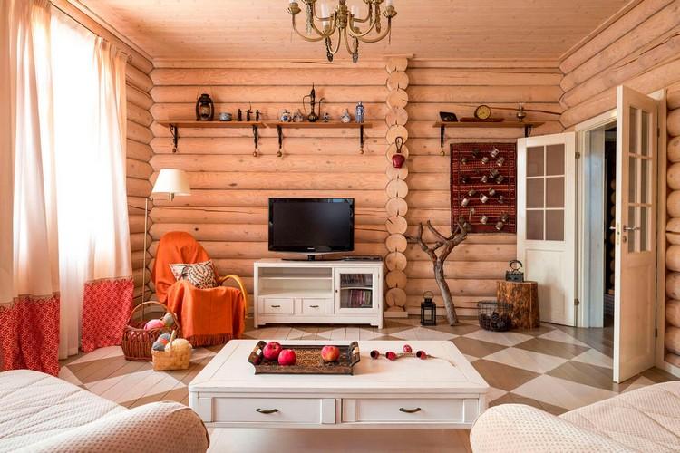 Легкий интерьер гостиной в стиле кантри