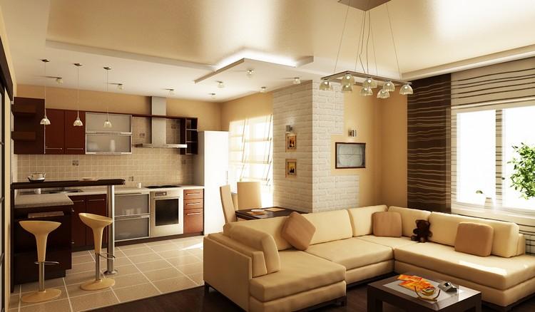 Освещение при соединении кухни с гостиной