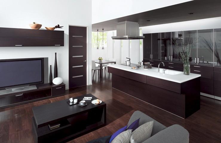 Строгая гостиная-кухня