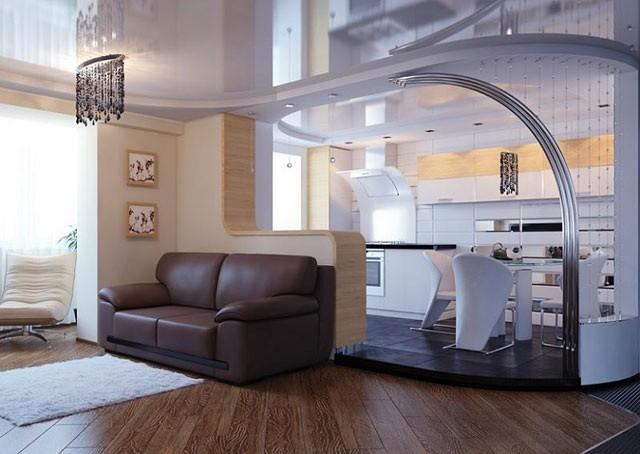 Зонирование при совмещенной кухни и гостиной