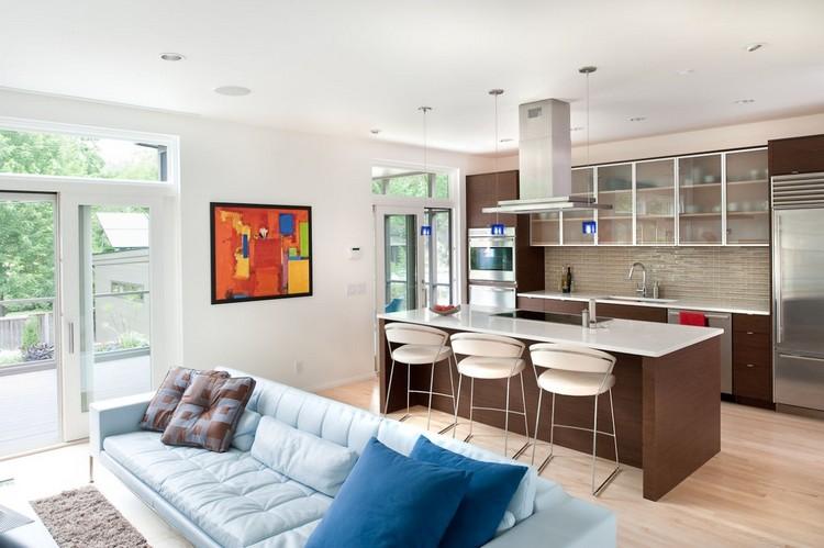 Как совместить кухню с гостиной: советы, идеи и простые примеры дизайна (26 фото)