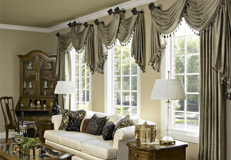 Нестандартные шторы в гостиной