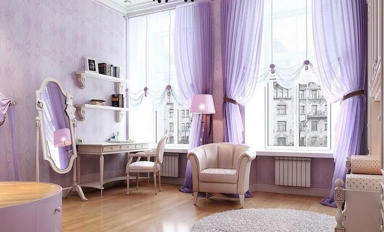 Сиреневые шторы в пол в гостиной