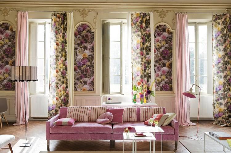 Рисунки на шторы в гостиной: цветы