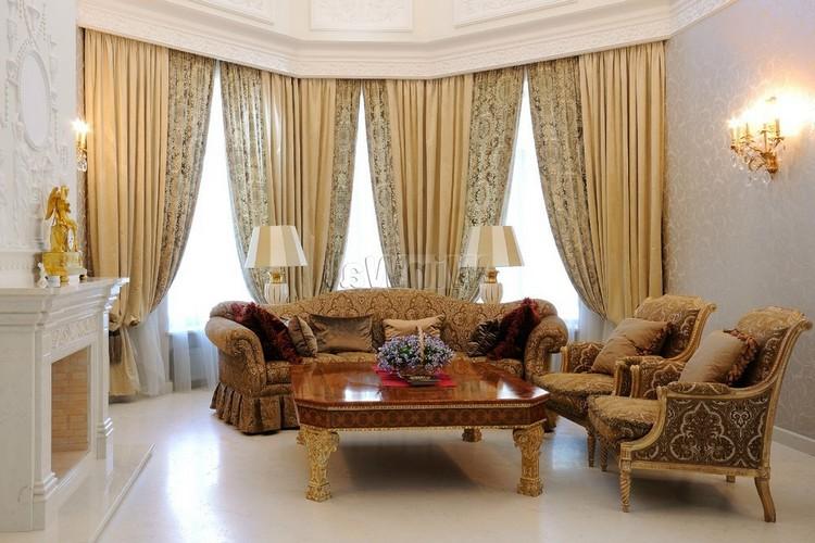 Сочетание разных штор в одной гостиной