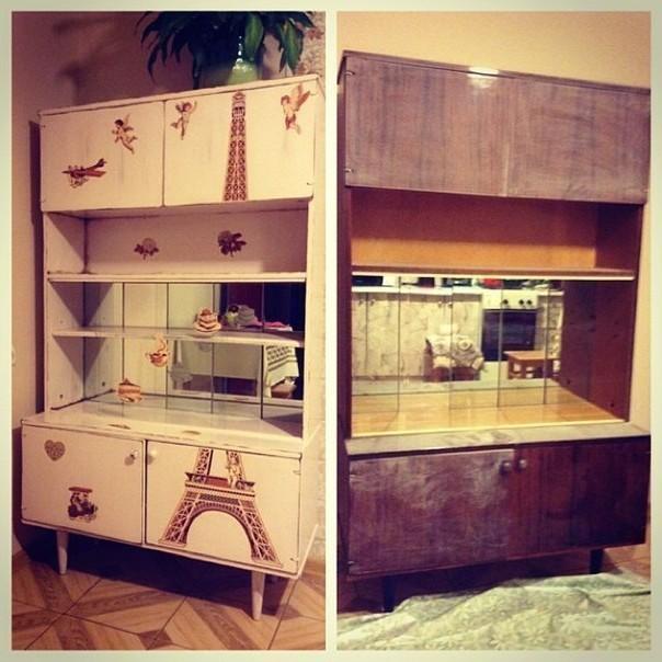 Декупаж как способ обновить старую стенку или шкаф