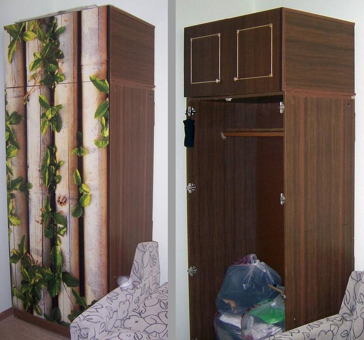 Простой способ обновить старую стенку: оклеить дверцы