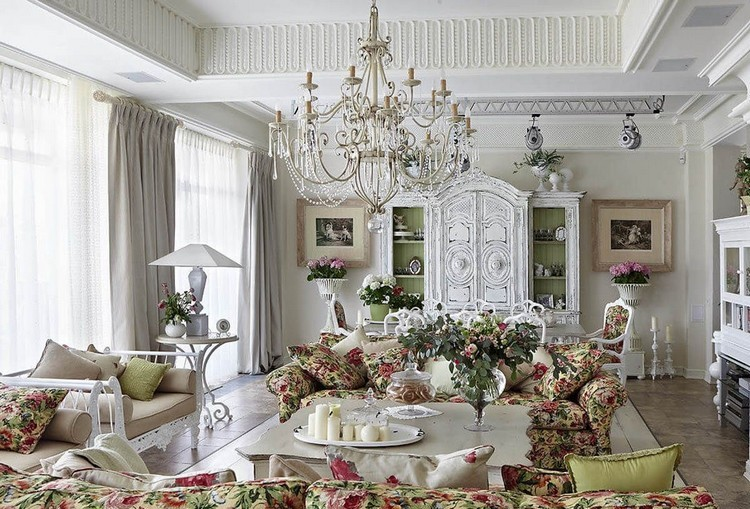 Франция у вас дома: особенности стиля Прованс в интерьере гостиной (50 фото)