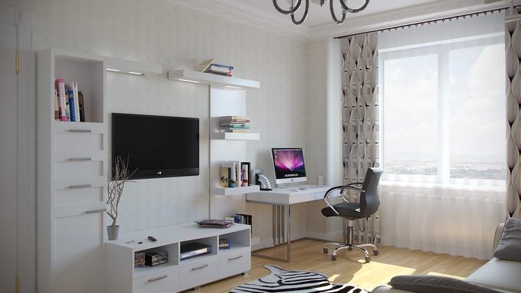 компьютерный стол в интерьере рабочее место в гостиной 43 фото