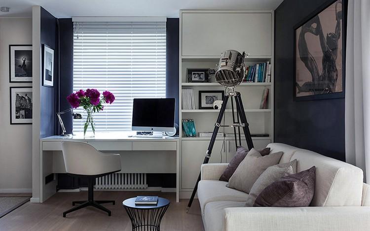 Компьютерный стол в интерьере гостиной: оригинальные идеи оформления помещения с рабочей зоной (43 фото)