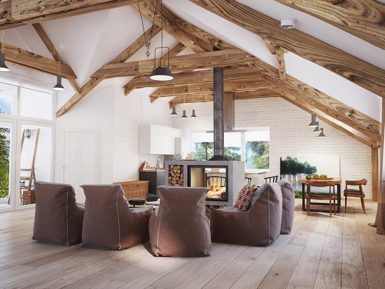 ТОП 10 идей для гостиных с открытыми старыми деревянными балками и треугольной крышей (30 фото)