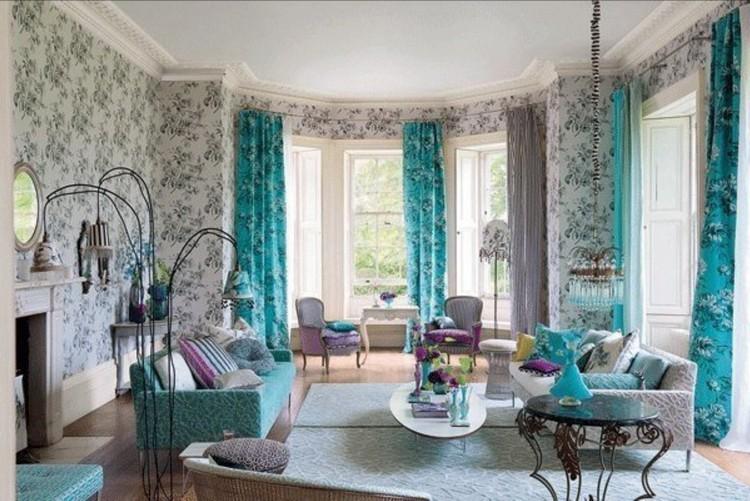 Бирюзовые шторы в гостиной: правила выбора и сочетания благородного цвета + 50 фото-идей