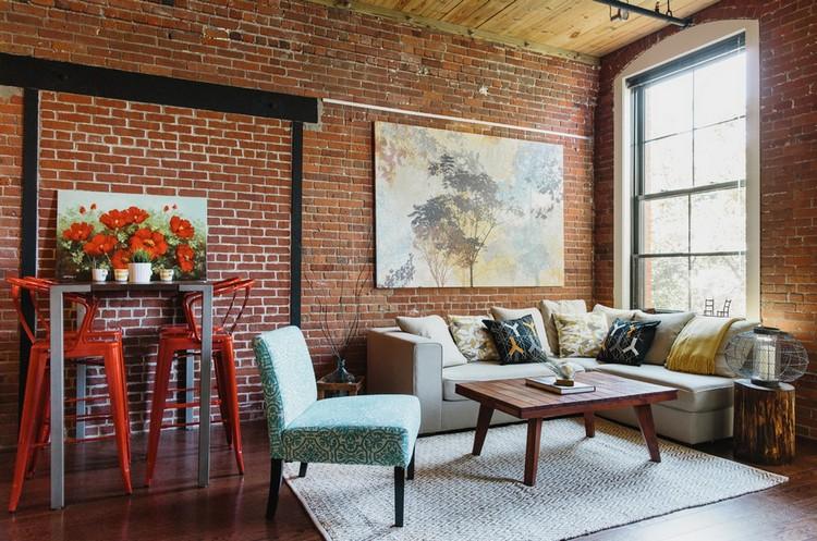 Кирпичная стена в гостиной: как совместить городскую грубость с домашним теплом и комфортом (53 фото)