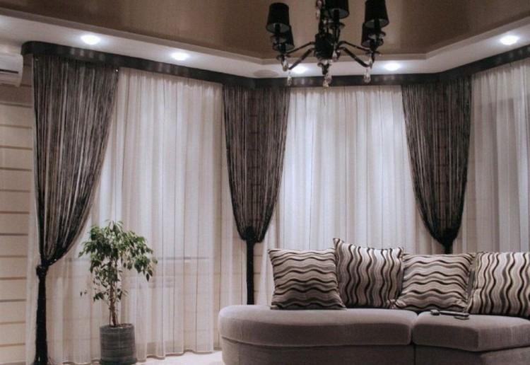 Нитевые шторы и кисея в интерьере гостиной: новые идеи оформления окна в комнате при помощи нитей + 50 фото-проектов