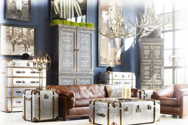 Рога в интерьере гостиной: головы оленя и лося, фигурки, светильники и мебель (57 фото)