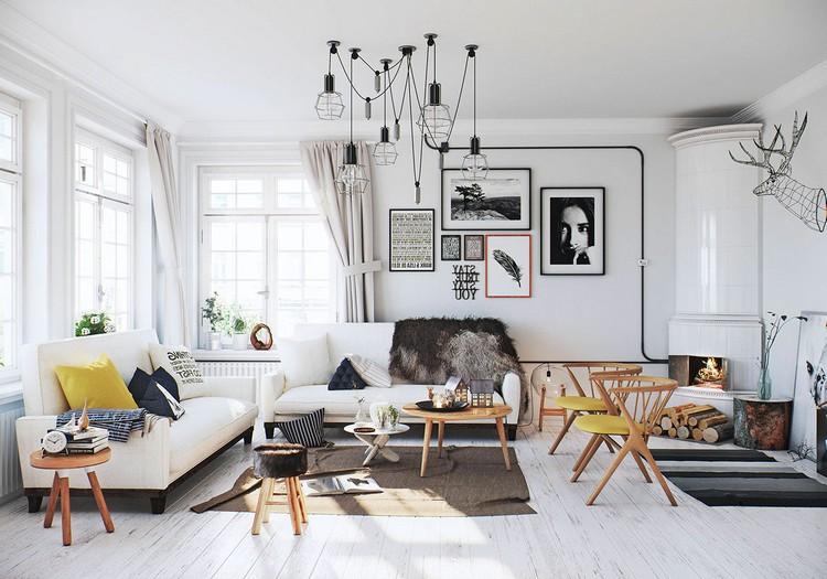 Скандинавский стиль в интерьере гостиной: правила оформления комнаты + 100 фото идей