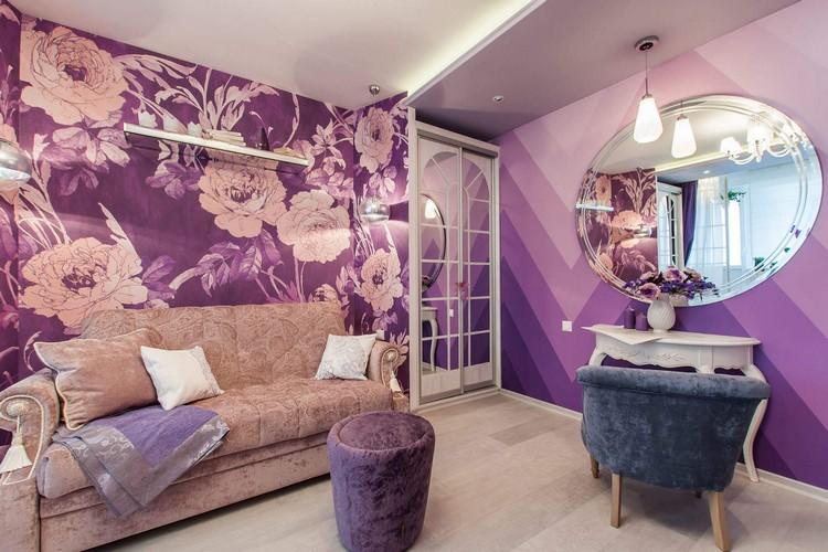 Сиреневые обои в дизайне гостиной: гармоничное оформление комнат для творческих людей ( 65 фото)