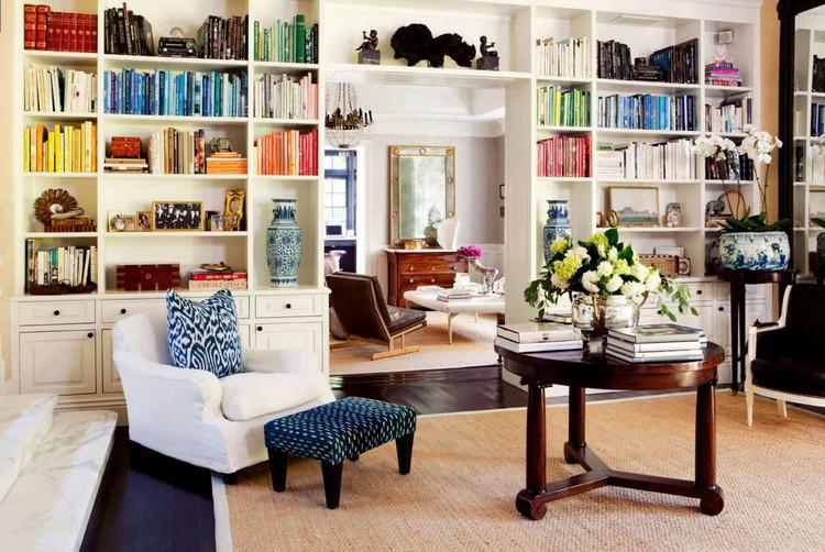 Стеллажи в интерьере гостиной: интересные варианты расстановки мебели и идеи для хранения (65 фото)
