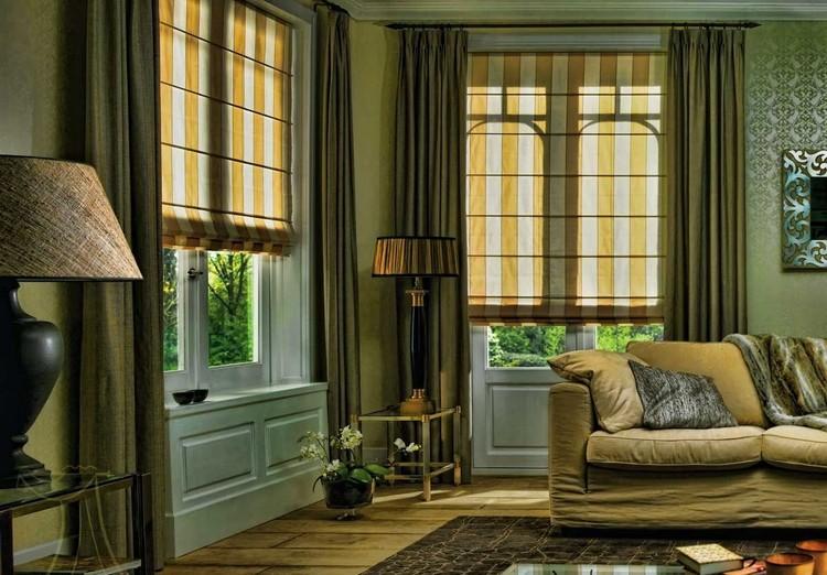 Римские шторы в интерьере гостиной: красивое и модное убранство окон (55 фото)
