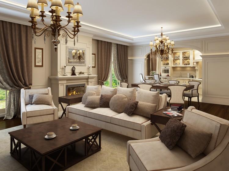 Коричневый цвет в интерьере гостиной: благородный и роскошный дизайн комнаты (50 фото)