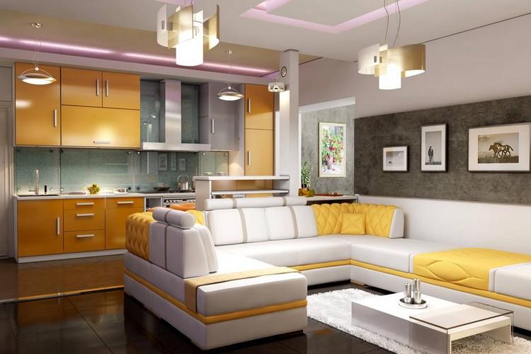 Кухня-гостиная в частном доме: варианты оформления интерьера при помощи мебели, отделки, света и аксессуаров (40 фото)