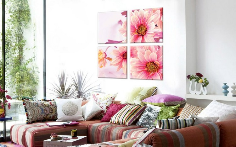 Модульные картины в интерьере гостиной: креативное и модное искусство в современном дизайне (40 фото)