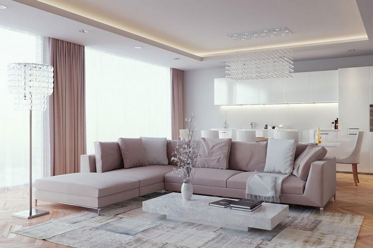 Натяжной потолок в гостиной: дизайнерские идеи по оформлению потолка (45 фото)