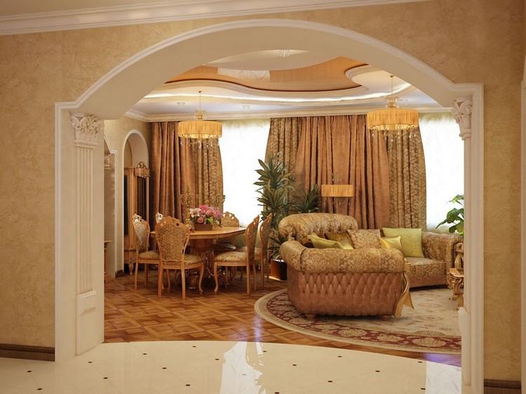Арка в интерьере гостиной: оригинальные архитектурные конструкции для украшения дверных проемов (50 фото)