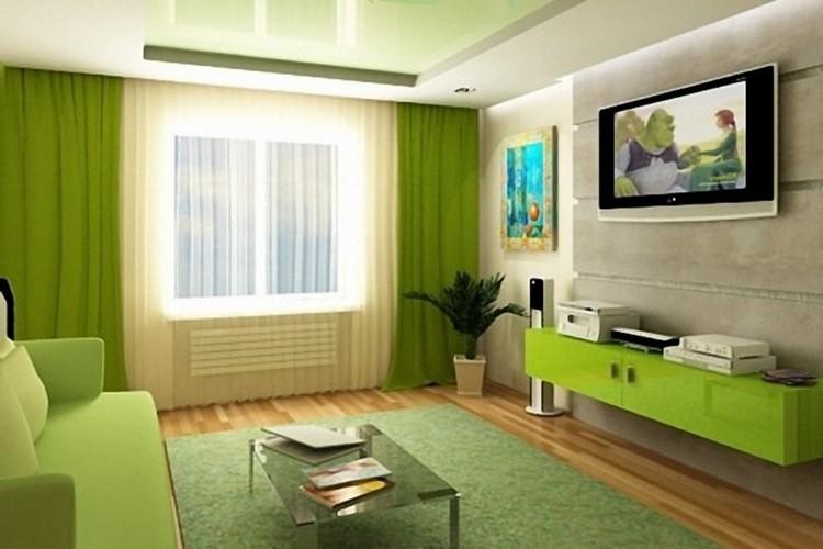 Зеленый цвет в гостиной: комбинация оттенков в оформлении (33 фото)