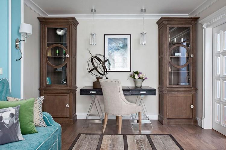 Кабинет в гостиной: как обустроить полноценную рабочую зону (40 фото)